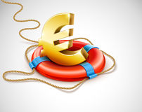 Life buoy rescue ring helps euro currency. Sign - financial crisis concept - vector illustration. EPS10. Gradient mesh used. Transparent objects used for Royalty Free Stock Image