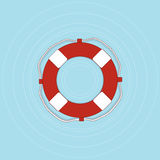 Life buoy with rope in flat style. Royalty Free Stock Photos