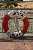 Life buoy of Santa Monica. Hanging by pier Royalty Free Stock Image