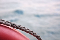 Life buoy on sea background Stock Photo