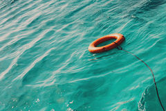 Life buoy in the sea with copy space Stock Images