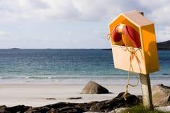 Life buoy at the seaside stock photo