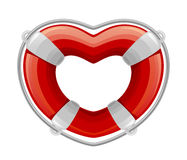 Life buoy in the shape of heart. On a white background Stock Photo