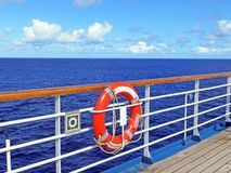 Life buoy on ship rail Royalty Free Stock Image