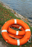 Life buoy on the shore Royalty Free Stock Photography