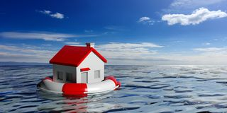 Life buoy and a small house on blue sea background. 3d illustration royalty free illustration