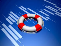 Life buoy and stock chart. royalty free stock image