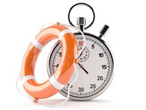 Life buoy with stopwatch. On white background royalty free illustration