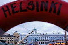 Life-buoy view of Helsinki Royalty Free Stock Photography
