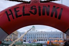 Life-buoy view of Helsinki Stock Photo