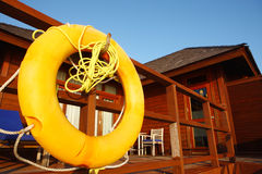 Life buoy in water villa,Maldives Royalty Free Stock Image
