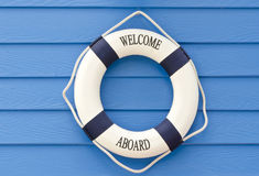 Life buoy  welcome aboard sign Royalty Free Stock Photos
