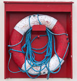 Life buoy on a wood background Stock Images