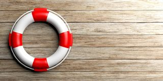 Life buoy on wooden background. 3d illustration Royalty Free Stock Image