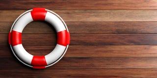 Life buoy on wooden background. 3d illustration Stock Image