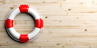 Life buoy on wooden background. 3d illustration Royalty Free Stock Images