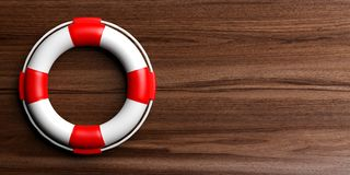 Life buoy on wooden background. 3d illustration Stock Photos