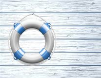 Life Buoy on  a Wooden Paneled Wall. With Copy Space. Vector illustration Stock Photography