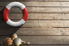 Life Buoy on Wooden Wall with Seashells Stock Images