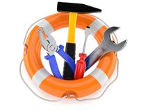 Life buoy with work tools. Isolated on white background Royalty Free Stock Image