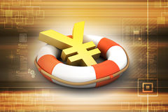 Life buoy with yen sign. In color background Royalty Free Stock Photography