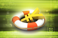 Life buoy with yen sign. In color background Stock Photography