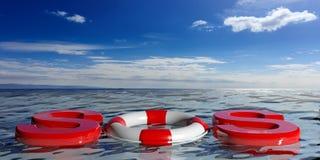 Life buoys on blue sea background. 3d illustration Royalty Free Stock Photography