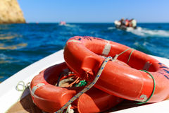 Life-buoys in the sea Stock Photos