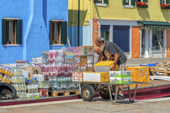 Daily life at Burano, Italy Royalty Free Stock Image
