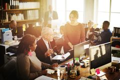 Daily life of business people at the office royalty free stock images
