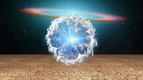 Life capsule. Sci fi art. Life capsule. Splash of clouds and lightnings. Galaxy disk on a background royalty free illustration
