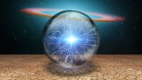 Life capsule. Surrealism. Splash of lightnings inside crystal ball. Galaxy disk on a background stock illustration
