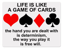 Life cards. Difference between determinism and free will royalty free illustration