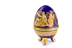 Casket in the form of an Easter egg with an ornament. Royalty Free Stock Photography