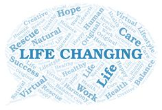 Life Changing word cloud. Wordcloud made with text only royalty free illustration