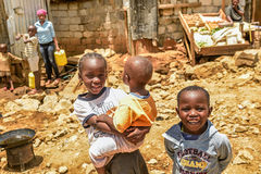 Daily life of Children of Kibera Slum in Nairobi,Kenya Stock Images