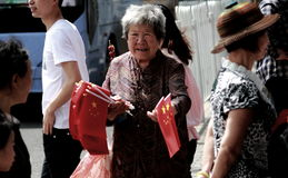 Chinese old woman working Royalty Free Stock Photography