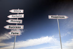 Life choices. Road signs on blue sky to symbolize choices in lifestyle Royalty Free Stock Images