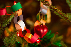 Life christmas tree with ornaments stock image
