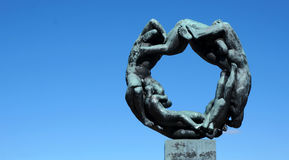 Life circle statue Oslo Norway teamwork Stock Images