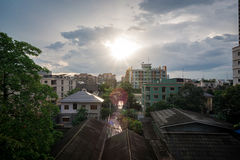 Life in the city of Thailand. Many buildings are near place royalty free stock photos