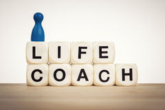 Life coach concept with toy dice and pawns Stock Images