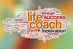 Life coach word cloud with abstract background Royalty Free Stock Images