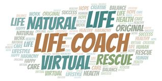 Life Coach word cloud. Wordcloud made with text only royalty free illustration