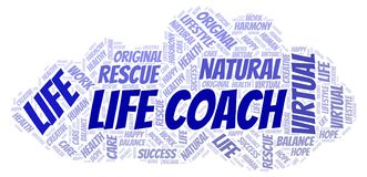 Life Coach word cloud. Wordcloud made with text only vector illustration
