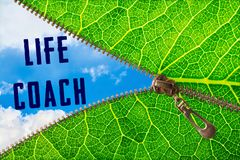 Life coach word under zipper leaf. Open zipper leaf and showing sky with life coach word royalty free stock images