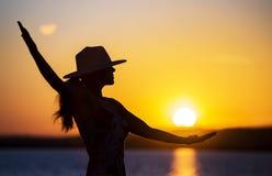 Life coaching, motivation, self realization concept. Happy woman - life coaching, motivation and self realization concept stock photos