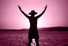 Life coaching woman in pink Stock Images