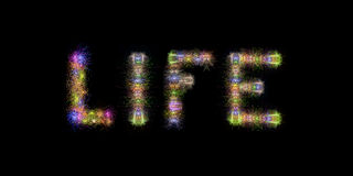 Life colorful sparkling fireworks horizontal black sky backgroun. Life text written with Colorful Sparkling Fireworks over black sky / background Stock Photo