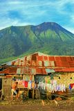 Life in the countryside in ternate. Sunny morning and community activities in the village, at the foot of the mountain gamalama in northern Malukun Stock Photo